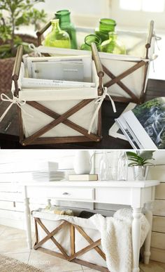 Thrifty and Chic made a much larger version of these Pottery Barn crates to act as a laundry hamper.