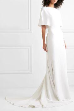 Cushnie - Cape-effect Crepe Gown - White , Making A Wedding Dress, Dream Wedding Dresses, Bridal Dresses, Bridesmaid Dresses, Frack, White Gowns, Long Sleeve Wedding, Plus Size Wedding, Bridal Collection