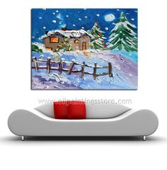 Hand-painted Landscape Oil Painting - Christmas Country ...BTW,Please Check this out: http://artcaffeine.imobileappsys.com