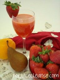 Strawberry Pear Orange Juice  12-15 strawberries  1 pear  1 orange  Wash fruits.  Pinch the greens off the strawberries.  Peel the orange leaving some of the pith.  Break into segments.  Remove stem from pear and cut into halves or quarters.  Put all into the juice machine.  Garnish with a piece of fruit.  Makes approximately 12 oz.