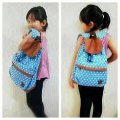 Polkadot Light Blue Backpack for kids
