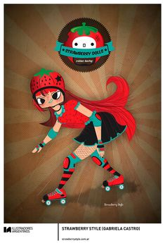 © STRAWBERRY STYLE (GABRIELA CASTRO) | Ilustración para la muestra Roller Derby de Ilustradores Argentinos | #rollerderby | Fotos: https://www.facebook.com/media/set/?set=a.725585730870003.1073741832.100296976732218&type=1