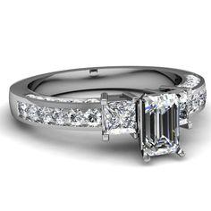 1.60 Ct Emerald Cut 3 Stone Diamond Engagement Ring 14K GOLD