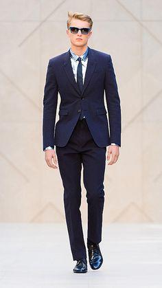 Pantalones de corte ajustado en sirsaca a rayas | Burberry