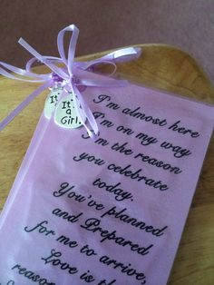 Baby shower book mark found the idea here on Pinterest and spruced it up a bit... Perfect to give to the leaving guest from baby and mom