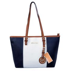 Be Happy Everyday With Michael Kors Jet Set Center Stripe Travel Medium Navy White Totes, And Be The Happiest One.
