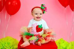 Strawberry Sweetheart Birthday Tutu Outfit (Pink Number)...strawberry birthday outfit...www.ticklemytutu.com