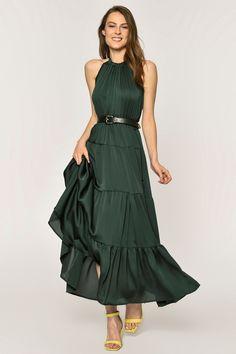 7e6dbd77be8b2 Loves You Zümrüt Yeşili Sırt Dekolteli Saten Görünümlü Uzun Elbise