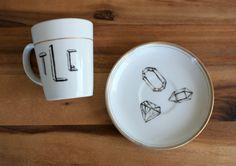 this custom monogrammed cup + saucer boasts a modern + popular geometric theme. | the apothecary bee.  #geometric #gem #monogram