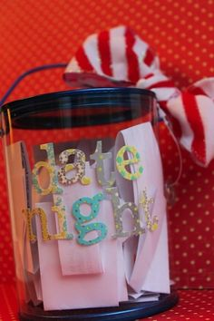 "This is cute, you could use it for any date night idea - doesn't have to be just a ""date night at home"" like they say! Think of ideas together then pick one weekly or bi-weekly  <3"