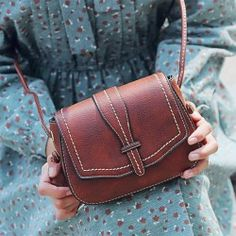 Retro Brown Simple Mini Square Lady Messenger Bag Shoulder Bags