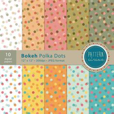 Bokeh Polka Dots Digital Printable Papers with pastel colours for invites, card making and digital scrapbooking