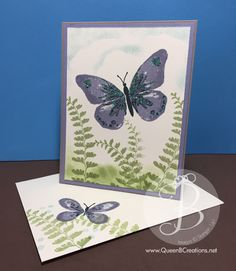 hand crafted card featuring watercolor-wings-wisteria-wonder .... luv the sponged background evoking a cloudy sky and ferns ... luv the matching stamping on the envelope ... Stampin' Up!
