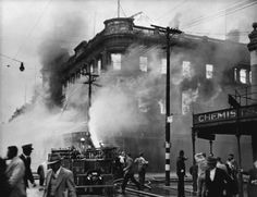 Fire and New Zealand Fire Brigade at Ballantyne's department store, Christchurch 1947 Nz History, Christchurch New Zealand, Old Skool, Department Store, Fire, Black And White, White Photography, Random, Black White