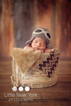Newborn photo prop Newborn pilot aviator hat newborn by MarysKnits
