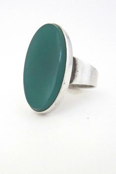N E From, Denmark - vintage modernist silver large chrysoprase ring