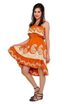 390ad4e68a5e6 Hand Artistry Womens Paisley Print Ruffled Trim Halter Hi Lo Midi Dress  ORCR     Amazon most trusted e-retailer  BatikDresses