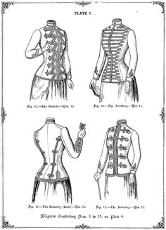 The Victorian Seamstress — Military styled Ladies' jackets from The Cutter's. Best Picture For Steampunk Fashion jewelry For Your Taste You are looking for something, and it is going to tell you exa Steampunk Costume, Steampunk Fashion, Fashion Black, Gothic Fashion, 1890s Fashion, Victorian Fashion, Historical Costume, Historical Clothing, Vintage Patterns