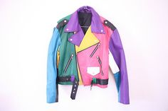 Rainbow Leather Motorcycle Biker by redleatheryellow Leather Motorcycle Boots, Motorcycle Outfit, Biker Leather, Motorcycle Jacket, Classy Outfits, Cool Outfits, Fashion Outfits, Style Fashion, Battle Jacket
