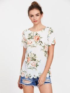 SheIn offers Flower Print Scallop Edge Top & more to fit your fashionable needs. Casual Outfits, Cute Outfits, Casual Wear, Latest Fashion For Women, Womens Fashion, Casual Tops, Dressy Tops, Women's Fashion Dresses, Floral Tops