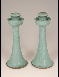 Owens, Vernon, Pair of Candle Sticks, 1996 CE Click the link to visit our site Modern Candle Holders, Ceramic Candle Holders, Pottery Plates, Ceramic Pottery, Candle Sticks, Candle Jars, Pottery Designs, Pottery Ideas, Vintage Candles