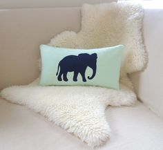 Elephant Pillow Cover Modern Mint Green & Navy Blue by VixenGoods Elephant Throw Pillow, Elephant Cushion, Elephant Applique, Blush Pillows, Baby Pillows, Applique Pillows, No Plastic, Colorful Pillows, Baby Room Decor