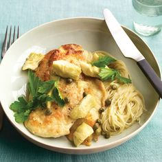 Chicken w/Artichokes & Angel Hair.  Left out the pasta.  For capers, substituted mushrooms & fresh spinach.  Pounded the chicken to thin it out a bit too.