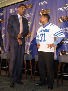 """Panelists Ralph Sampson and Antonio Rice at """"Jimmy Miller's Bracket Breakfast for Piedmont CASA"""" on March 14, 2016. Image by Jennifer Byrne Photography."""