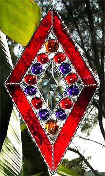"""Red & Blue Doo Dangle Stained Glass Suncatcher - 8"""" x 5 3/4"""" - $21.95  - Handcrafted Stained Glass Designs  * More at www.AccentOnGlass.com"""