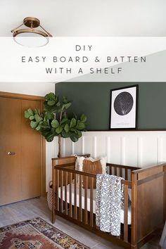 An easy tutorial to create a board and batten wall with a shelf! #boardandbatten #diy #accentwall #forestgreen