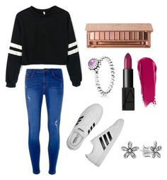 """Casual"" by alexxshaw45 ❤ liked on Polyvore featuring Dorothy Perkins, adidas, Pandora, Urban Decay and NARS Cosmetics"