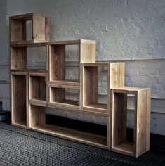 Industrial modular floor standing shelving and storage made Modular Furniture, Recycled Furniture, Pallet Furniture, Furniture Design, Wood Storage, Wood Shelves, Cool Things To Build, Bookshelf Design, Luxury Furniture Brands