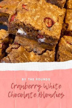 Cranberry White Chocolate Blondies - By the Pounds White Chocolate Blondies, Chocolate Filling, Wine Recipes, Dessert Recipes, Desserts, Blondie Dessert, Fruit Parfait, Good Pie, Star Food