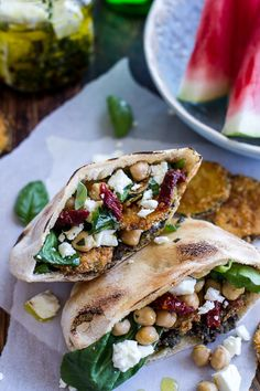 Greek Olive Pesto and Fried Zucchini Grilled Pitas w/Marinated Feta + Garbanzo Beans Dinner Day 2 Vegetarian Sandwich Recipes, Vegan Recipes, Cooking Recipes, Basil Recipes, I Love Food, Good Food, Yummy Food, Tasty, Sandwich Wrap