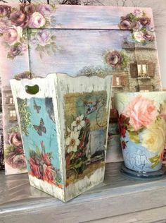Pretty Storage Boxes, Vintage Paper Crafts, Inspiration Artistique, Diy And Crafts, Arts And Crafts, Decoupage Art, Pretty Box, Shabby Chic Style, Painting On Wood