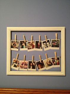 in a frame :) Polaroid, Display Family Photos, Pinterest Crafts, Hanging Pictures, Going Home, Clothespins, Photo Displays, Mobile Photography, Photo Ideas