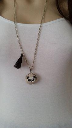 Cross stitch necklace panda necklace pendant jewelry by SmyrnaArt