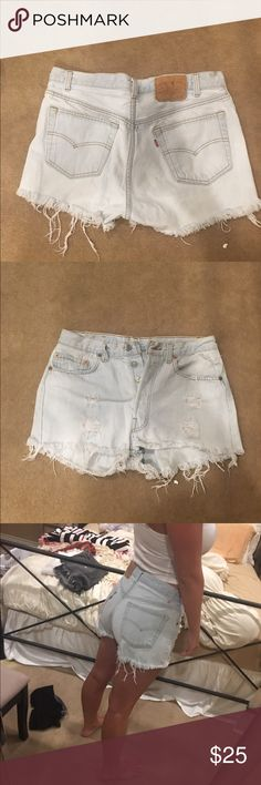 Light wash Levi distressed shorts Size 28/29, good condition. Also available on merceri. Price negotiable Levi's Shorts Jean Shorts