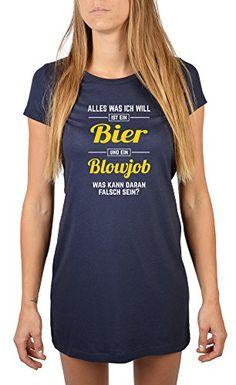 Nachthemd mit frivolen Spruch - Alles was ich will ist ein Bier und ein Blowjob! Langes Damen T-Shirt, Farbe: navy-blau - Damen Bekleidung Erotik - Kinkinky - Fetisch, BDSM, Toys und mehr