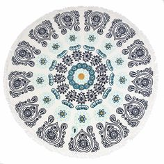 Slippa The Moana Round Towel ($80) ❤ liked on Polyvore featuring home, bed & bath, bath, beach towels, white, circular beach towel, white beach towel, round beach towels, plush beach towels and jacquard beach towel