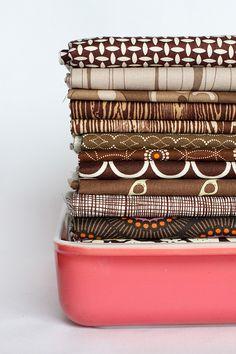 Fabric + Pyrex by jenib320, via Flickr