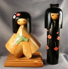 Pair 2 Kokeshi Japan Dolls 1 Tall 9 inches One Unusual w Stand | eBay