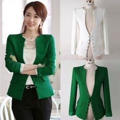 Womens OL Collarless V Neck Slim Blazer Suit Coat Jacket Outwear Cardigan S-XL