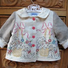 Vintage Embroidered Puppy Jacket size 3 by JackieSpicer on Etsy