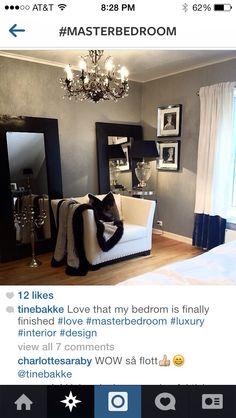Black white silver bedroom.. So chic!