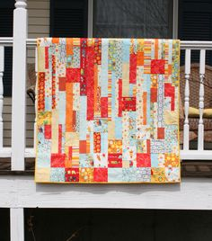 Falling Squares Modern Baby Quilt by WoodenShoeStitches on Etsy https://www.etsy.com/listing/521939420/falling-squares-modern-baby-quilt