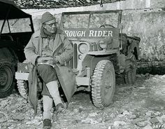 """Brigadier General Theodore Roosevelt, Jr and his """"Rough Rider"""" jeep in Italy, January 1944. Jeep Willys, Theodore Roosevelt Jr, 4th Infantry Division, Utah, Medal Of Honor Recipients, Rough Riders, D Day, Military History, Military Photos"""