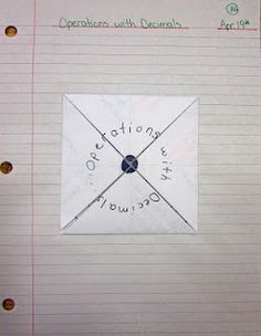 Order of operations with decimal foldable math-notebook
