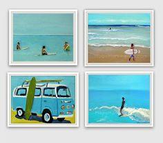 Surf decor- surf art print set, beach home decor, 8x10 prints from original paintings by Cathie Carlson