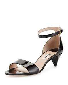 New & Now at Bergdorf Goodman Miu Miu Sandals, Shoes Sandals, Kitten Heel Sandals, Ankle Strap Shoes, Latest Shoes, Fall Shoes, Leather Sandals, Patent Leather, Shoe Bag